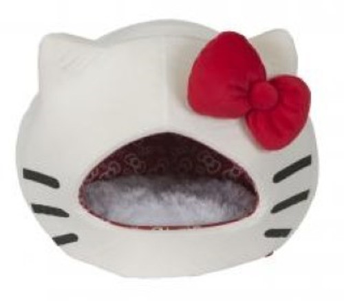 A must for all Hello Kitty lovers! Shaped like a cat's face, this cute cat bed comes with a cute red bow which is removable and doubles as a squeaky toy!
