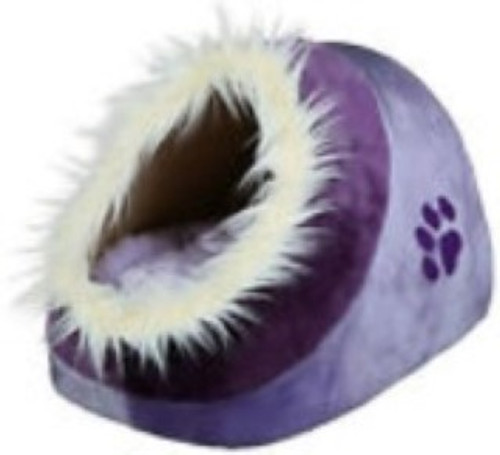 Minou cuddly cave for cat Structured soft plush cover Foam padding for extra comfort Removable reversible cushion with polyester fleece filling Non-slip bottom