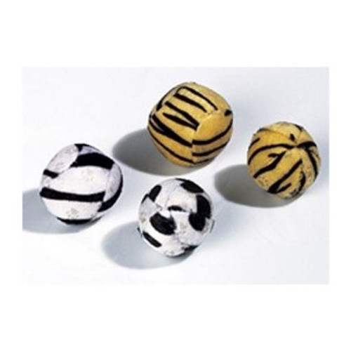 Four fun catnip balls for cats and kittens to chase. The four balls come in aattractive zebra and tiger patterns for colourful fun cat playtimes.
