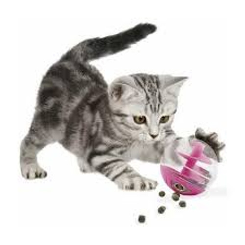 The Catit Treat Ball is a toy and treat dispenser in one! As the cat plays, chases and swats the ball treats are released for a yummy surprise. Turn the lid fully closed, and it becomes a regular play ball.