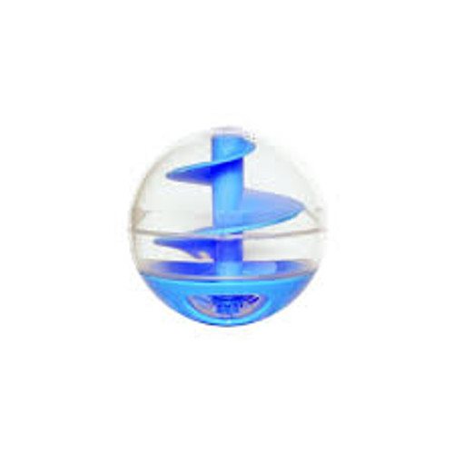 The Catit Treat Ball is a toy and treat dispenser in one!  As the cat plays, chases and swats the ball treats are released for a yummy surprise.  Turn the lid fully closed, and it becomes a regular play ball.  Treats are not included.  Suitable for Cats and Kittens.  Hand wash only.  Approximate Dimensions (Product): 11 x 7.5 x 7.5cm