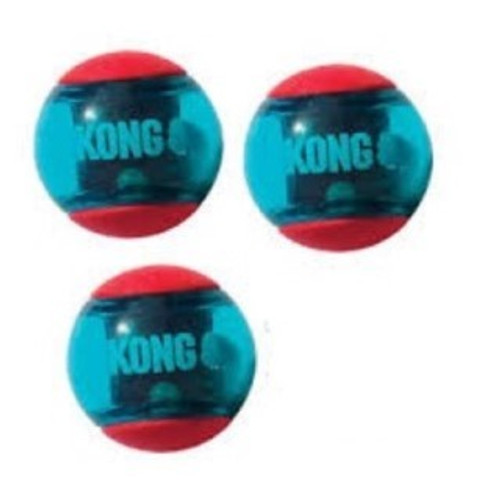 Dogs love chasing after the wild bounce that comes from the new Kong Squeezz Action balls featuring dynamic rubber and fun shapes that make games of fetch way more fun. Vibrant, multi-textured, grippy balls beg for chewing and chomping with each squeeze delighting dogs from the added squeakers safely embedded within the toy.  Each multipack contains 3 balls