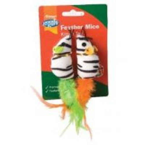 Good Girl Feather Mice Cat Toy  Stimulates excercise & play  Super interactive fun