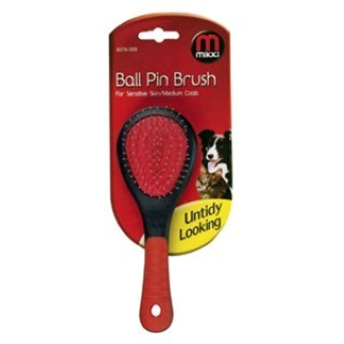 The Mikki Ball Pin Brush is designed with nickel steel ball pins which are mounted on an air cushion to enhance grooming action and reduce any excessive brushing force. The brush removes dead hair found in both the top and under coat, helping to keep your pet's fur looking shiny and healthy. Regular grooming is important to prevent knots and tangles turning into potentially troubling matts.
