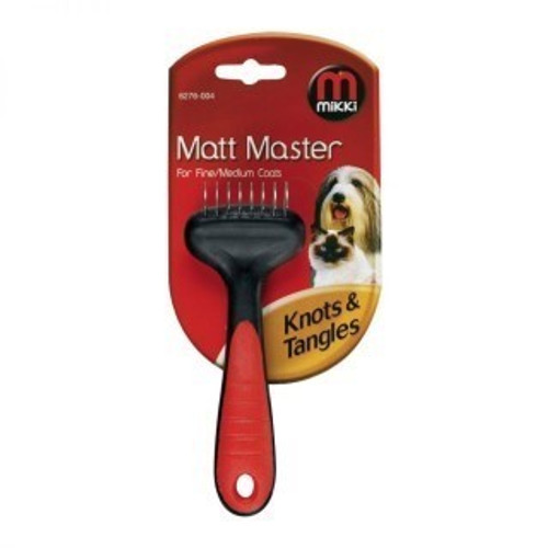 Keep your pets clean and well groomed with the Matt Master for Fine or Medium Coats from Mikki. The brilliant tool is perfect for removing knots and tangles in your cat or dog's fur. This tool has a stainless steel blade with serrated edges for easy cutting and rounded ends for safety. Matt Masters have specially shaped blades which are designed to work through matts and tangles in long coats with the minimum of hair loss.