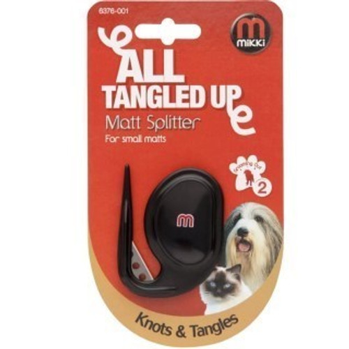 Effectively and painlessly cuts through matts & tangles  Tapered guide penetrates the toughest tangles  Shaped for comfort & effectiveness  Long lasting cutting blade  All Mikki de-matting products have micro-serrated edges and are made from stainless steel to ensure long lasting quality and excellent results.