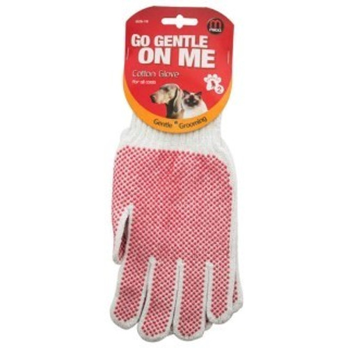 The Mikki Cotton Gloves are a specially designed textured glove with circular protrusions that cause friction between the glove and coat, allowing loose and dead hair to be gathered.  Great for grooming nervous pets, one size fits all and can be used on either right or left hand.