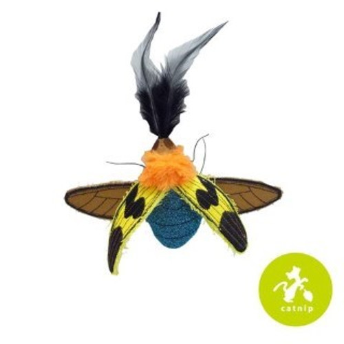 Jewel Beetle with Catnip.  Cats are natural born predators so why not let them follow their instincts and pounce on what is bugging them.  These insect toys are filled with 100% natural catnip and stuffed with a crinkle sound cats love.  All of the fun but none of the creepy crawlies.