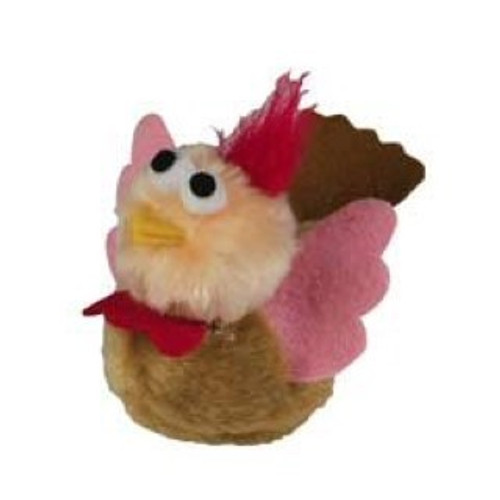 A super cute vibrating cat toy for interactive cat fum Simply pull the cord and watch the turkey dash across the floor. great fun for any cat or kitten.
