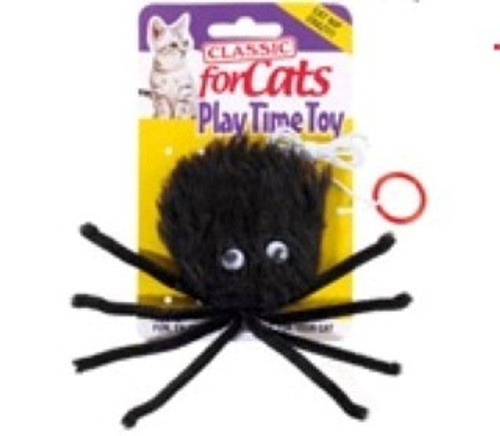 A high quality, great interactive Furry Spider cat toy, with attached string and finger loop.  Interactive play brings fun, enjoyment and exercise for our feline friends and some great bonding time too!  These Large Black Furry Spiders with added Catnip will make a fun play for any cat or kitten. Overall size 180 mm.