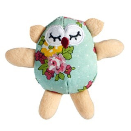 Cat 'a' Hoot Cat Toy has a super fashionable and durable patterned material and contains quality catnip to entice cats to play and go crazy with the owl.  The toy features a soft, plush owl head with sleeping eyes and a red beak embroidery. The body is made from durable cloth, detailed with white polka dots and flower designs. The owl's ear feathers, wings and legs are made from soft faux fur.  With catnip in the head it adds interest and excitement, this is a great toy designed to appeal to kittens and cats alike.