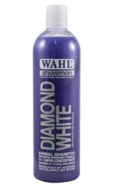 Wahl Diamond White Shampoo is based on natural ingredients and contains no harmful detergents or cleansers.The perfectly balanced formula including extracts of cucumber, passion flower, lemon and lime, achieves exceptional results on white and light coats, effectively removing dirt, grease and stains. White enhancers revitalise and refresh the natural white and light pigmentation within the hair, leaving the coat bright, silky and vibrant, shining with vitality and health.  Formulated for all animal hair types including horses, dogs, cattle, goats, llama, alpaca, rabbits and ferrets, Diamond White rinses out easily, leaving a soft, manageable, ultra white coat.  Features White & Light coat enhancer 15:1 Concentrate Contains extracts of cucumber,passion fruit flower,lemon & lime boosts natural pigmentation
