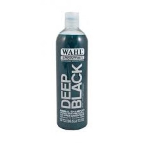 Wahl Deep Black Shampoo is based on natural ingredients and contains no harmful detergents or cleansers.The perfectly balanced formula including extracts of peach, pear, passion-flower and kiwi-fruit, achieves outstanding results on black and white coates, effectively removing dirt, grease and stains. The colour enhancers revitalise and refresh the natural black and white pigmentation within the hair, leaving the coat bright, silky and vibrant, shining with vitality and health.  Formulated for all animal hair types including horses, dogs, cattle, goats, llama, alpaca, rabbits and ferrets, Deep Black rinses out easily, leaving a soft, manageable, high-gloss finish on black or white hair.  Features Black & White coat enhancer 15:1 Concentrate Contains extracts of peach,pear,passion flower and kiwi fruit boosts natural pigmentation High gloss finish.