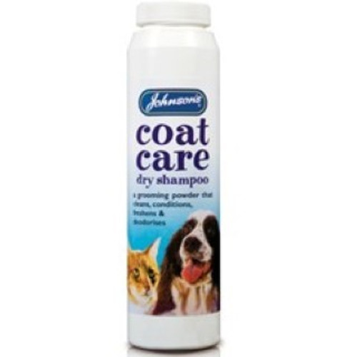 Johnson's Coat Care Dry Shampoo offers all the benefits of a good wash without the hassle of bathing!  This product is perfect for animals not so keen on baths. The dry shampoo powder is effective in deodorising and conditioning your pet's skin and coat, leaving your pet clean and smelling fresh!  Use Johnson's Coat Care Dry Shampoo regularly for a clean coat, free from odours.  85g