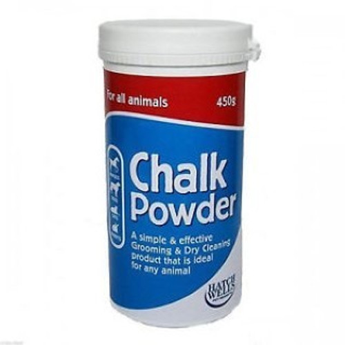 Hatchwells Chalk Powder is a simple and effectiveway to keep you aminal?s coat clean and bright. This easy to use powder brightens the coat and helps groomers to grip slippery coats when cleaning, stripping or trimming. Great for showing your dog or cat but also suitable for all animals.