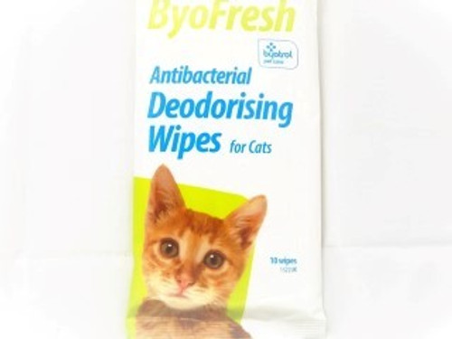 The Byofresh Grooming Cat Wipes are extremely durable wipes designed to clean your cats litter tray. The generously sized wipes are antibacterial and quickly and effectively clean away dirt and odour from the litter tray. Byofresh Grooming Cat Wipes are nicely scented and come in a handy re-sealable pack.