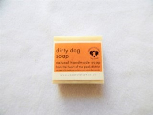 'Dirty Dog' Handmade Soap with Neem Oil £3.95  Pamper your pooch with Coconut Blush Dirty Dog soap. A fresh and clean scent which removes a multitude of unwanted aromas!  Neem Oil conditions skin and fur and acts as a natural flea repellent. Made with natural oils and butters to soothe dry skin and condition the coat. Foams and cleanses well. Has been known to remove fox poo! Handmade in Buxton in the Peak District, Derbyshire.