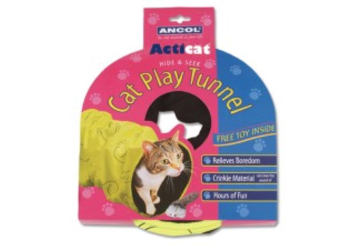 Any Cat Lover who's left a paper bag on the floor know its a sure way to get cats playing and pouncing. The Acticat Play Cat Tunnel goes one better, because their extra durable and much nicer to leave around the home. Crispy, Crunchy, Crinkle Material is Sewn into the cat toys shadow fabric for noisy, crackling fun.