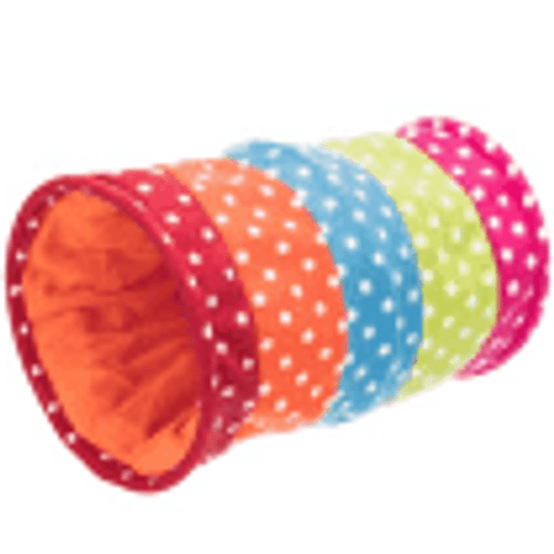 The Trixie Fleece Cat Play Tunnel has a sewn in rustling foil which encourages play and is also suitable for small puppies. This colourful tunnel has a soft fleece finish. Sizing information : Length 50cm Opening 25cm.