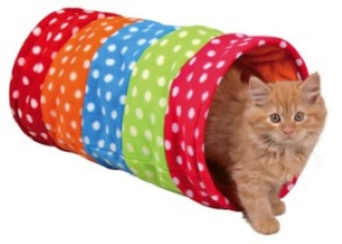 Fun and colourful fleece play tunnel Made from soft fleece material Rustling foil animates the cat to play Also suitable for small puppies