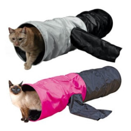 Made of polyester Rustling foil animates the cat to play For indoor and outdoor use With 4 entrances