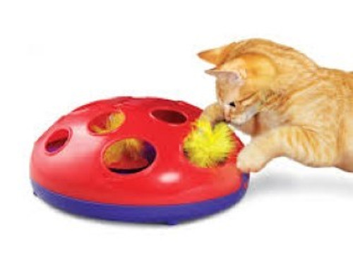 Cats will love the thrill of the chase with the new KONG Glide 'n Seek toy. Magnetic levitation technology brings the feather toy to life, bouncing, jumping and spinning unpredictably. Peek-a-boo holes keep cats guessing as they hunt and chase. Each KONG Glide 'n Seek includes two AA batteries and two feather toys.  Fun, unpredictable gliding action Fulfills natural hunting instincts Easy, one-button operation