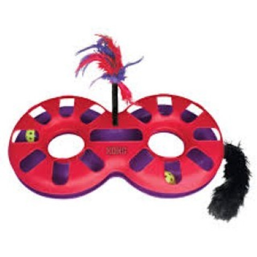 The Kong Eight Track is a race track with two rattle balls that your cat can bash and chase round the figure of eight circuit. It also has a feather attachment and catnip filled tail for added excitement.