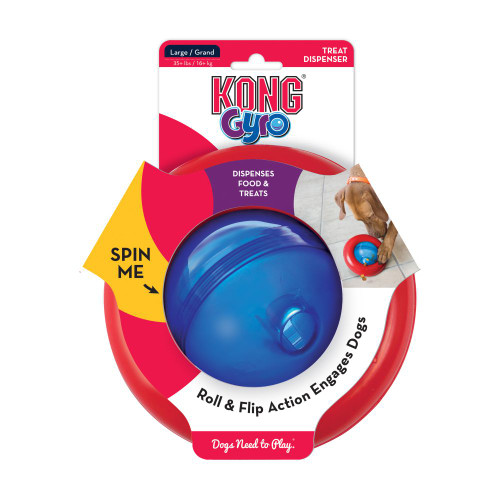 Entertaining roll and flip action Dispenses food and treats Ideal for independent play Spin me Mentally stimulating treat dispenser Twist top on lightly