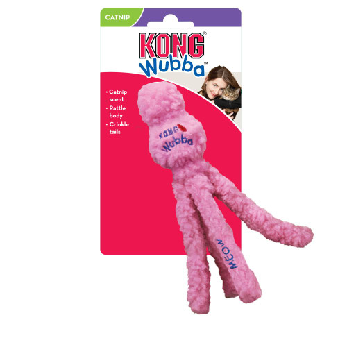 Fluffy fleece exterior for cuddle time Long body encourages kicking instincts Rattle in top and crinkles in tails keep cats engaged KONG Premium North American Catnip extends playtime