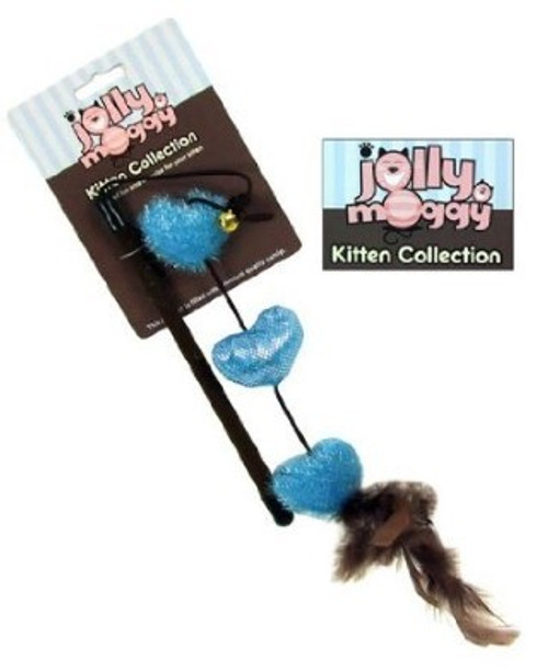 This interactive looking Jolly Moggy Kitten Collection Heart Teaser Toy in blue colour is the ideal toy which is made from pet-safe materials and suitable for cats and kittens.