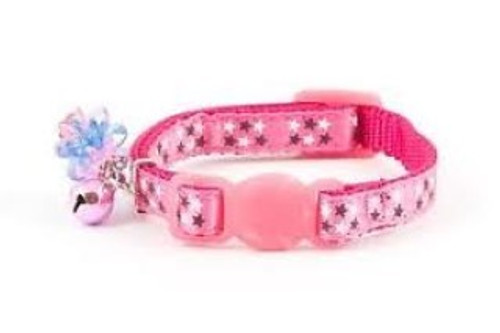 Kittens and small cats who are little stars will love the Ancol Stars Kitten Collar. With star pattern appliqué on sturdy nylon and even a hanging gem and miniature bell this collar will help your kitten shine. Choose from two colour options: Pink with a pink and blue hanging gem or black with a black and pink hanging gem. All Ancol cat collars come with safety features as standard; this collar features a break-away buckle to allow your cat an easy escape if they get caught whilst climbing. All Ancol collars also feature a warning bell to help protect wildlife. When fitting your cat's collar, ensure that you can get two fingers between your cat and the collar for safety and comfort. Please remove the collar when using liquid flea treatments to prevent reactions between the treatment and the materials of the collar.