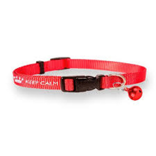 Easy fastening – This collar features an easy fasten plastic black buckle. Fun and Funky – This collar is an attractive red colour and includes a bell. Trendy design – This is a well-known, popular design of Keep Calm branding. Suitable for cats – This is a fully adjustable cat collar to fit most sizes of cat.