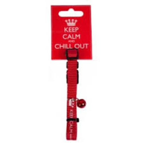 THESE GREAT RED NYLON CAT COLLARS ARE SOFT, ADJUSTABLE AND SAFE, FEATURING A SAFETY RELEASE SNAP BUCKLE. THE COLLAR FEATURES THE CLASSIC KEEP CALM WHITE TEXT ON RED WITH THE SLOGAN KEEP CALM AND CHILL OUT WITH CROWN EMBLEMS AND COMES WITH A MATCHING RED BELL ATTACHED TO WARN WILDLIFE TO KEEP CALM AND KEEP OUT OF YOUR CATS WAY!!!!!