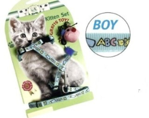 A cute kitten harness and lead set. ideal for any kitten , helpful in training the kitten to walk on a leasg. Also a secure way of moving kittens to the vets etc.