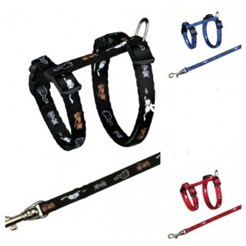 For small cats and kittens Adjustable leash    With snap buckles Various colours