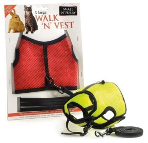 This is a comfortable harness vest with a safety leash that makes it super easy to walk your  animal (also, a finder bell is attached to the back in case a mishap occurs and you need to listen for your run away pet!). The vest is an easy on/off design using a velcro fit; making it easily adjustable to fit any small animal. It's made from a quality nylon material so is washable & colourfast.