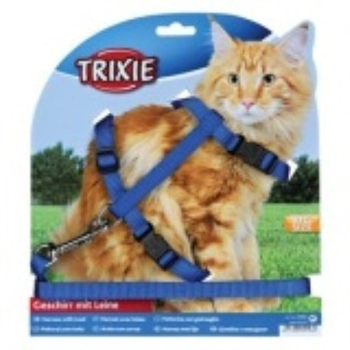 For large cats Nylon Fully adjustable With snap buckles Various colours Harness: 34-57 cm/13 mm Leash: 1.2 m   The specified Trixie measurements always refer to external dimensions.
