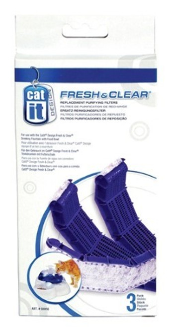 Catit Design Fresh & Clear Replacement Purifying Filter is designed for use with Catit Design's Fresh & Clear Drinking Fountain with Food Bowl (Art # 50050). This dual-function replaceable filter helps collect debris, food and sediment. It also helps reduce bad tastes, odors, and absorbs impurities present in tap water.