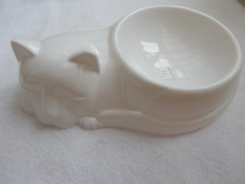 A novelty cat bowl in white plastic ideal for any cat lover.