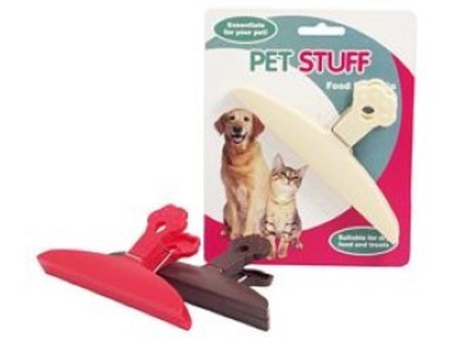 A great item to keep around , Easily clips opened bags shut keeping pet food fresher for longer.