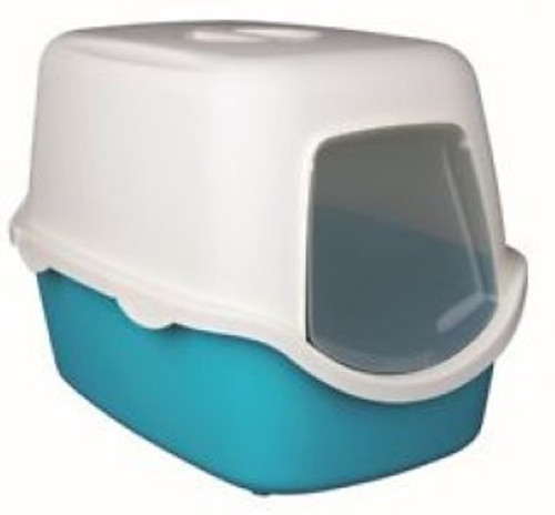 With hood, door flap and handle double rim prevents urine and litter being scattered out of the tray Easy Click clasps make it fast to open and close