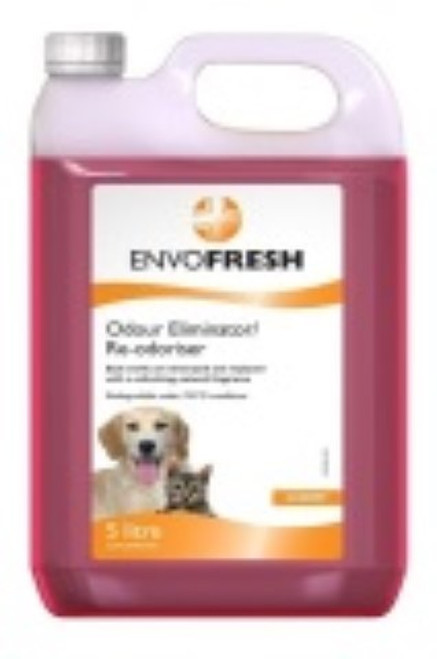 ENVOFRESH Odour Eliminator/Re-Odouriser may be used in all human and animal areas where the need for a rapid re-odourisation of the atmosphere with a pleasant fragrance is required. ENVOFRESH Odour Eliminator/Re-Odouriser is water based and safe to use on all surfaces except polished wood. It is non-toxic, non corrosive, biodegradable and harmless to the environment. It is available in cherry fragrance and may be used frequently.