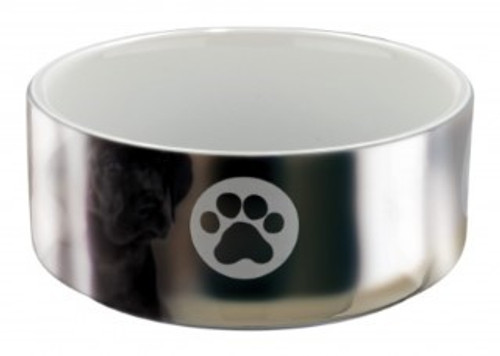This wonderful fine, porcelain-like looking, white ceramic with glossy silver outer coating bowl comes with an attractive paw print design adding a nice personal touch to the bowl. Made of strong and robust ceramic material it is perfect for feeding your dog. It is easy to clean and maintain and also ensures that your pet receives healthy meal every time. A beautifulTrixie bowl  suitable for every taste. Diameter: 12 cm. Capacity: 0.3 litre.