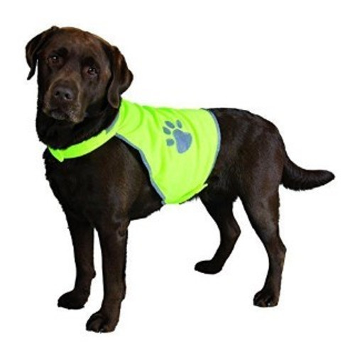 Safety vest for dog Reflective piping and paw prints Quick and easy to put on due to Velcro Fully adjustable at stomach and neck Made from durable polyester