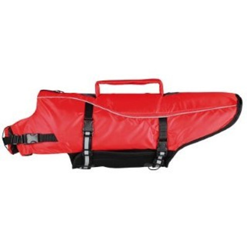 Fast and easy to put on More safety during water games and training or for boat trips Polyester cover/neoprene and fully adjustable Safe fit due to Velcro and nylon straps Signal colour and reflective stripes help to locate the dog quickly Good value High quality design