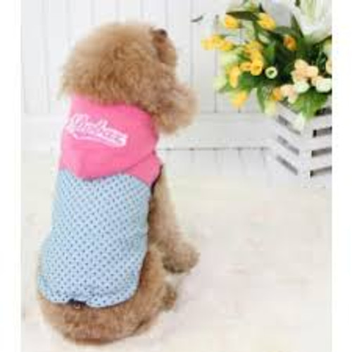 Mini Polkadots Hoodie Jacket   Pink Hoodie and Stylish Mini Polkadots design  Very Light weight coat that keeps your dog warm