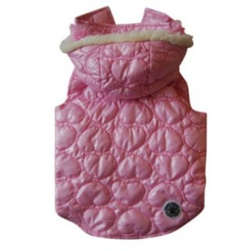 Luxurious Heart Quilted Coat for your dog Fully lined with super soft curly pink faux fur This Dog Coat has a Removable Hood Reflective Safety Logo