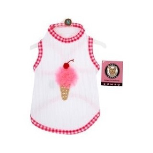Features a whimsical ice cream cone embellished with crystals and toile. Tank top is made with ultra soft, stretchy cotton piped with gingham for your dogs utmost comfort!