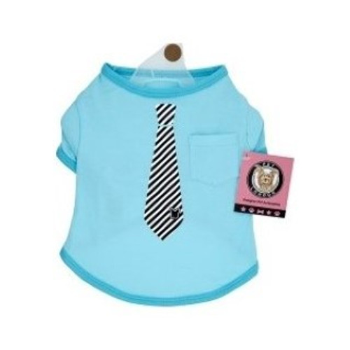 Gorgeous designer doggy tee shirt from Pet London.  Soft polyester cotton shirt with tie design and cute pocket on shirt.