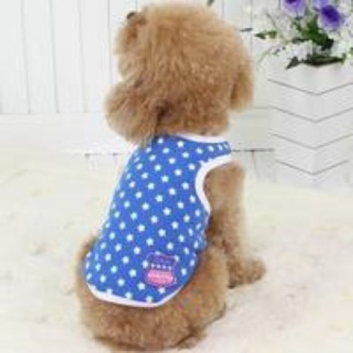 This cute 100% cotton Dobaz doggy tanktop is lightweight & comfortable for your dog  Blue with bold white stars design . Machine washable